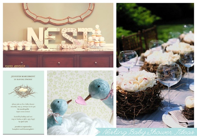 Nesting Spring Baby Shower Ideas  via The Petite Soiree