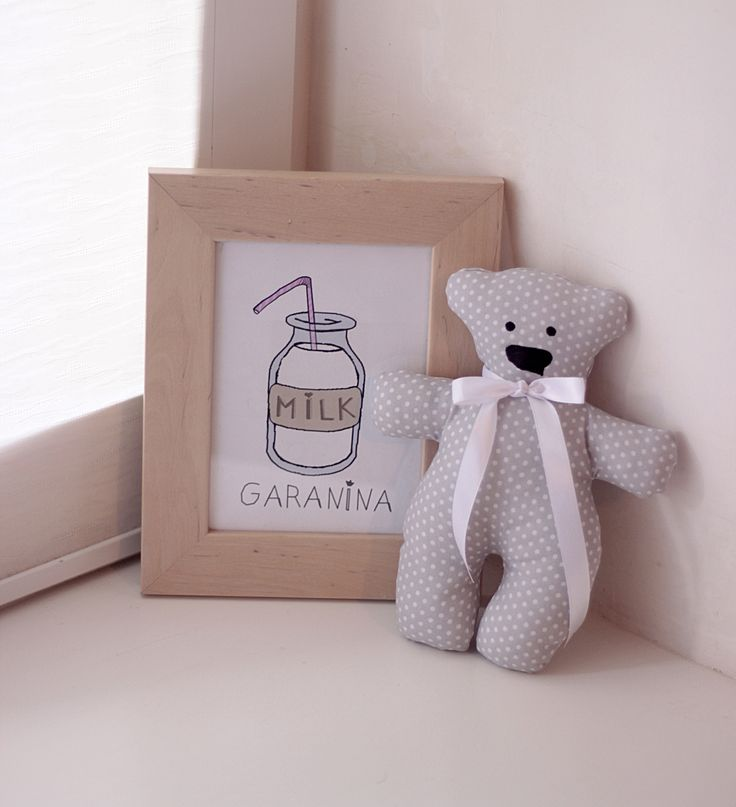 done GARANINA  Cute teddy bear handmade. cotton  poster nursery  textiles for children decoration Мягкая игрушка ручная работа. Постер в детскую