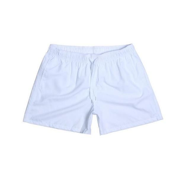Visnxgi Men Summer Casual Shorts Men Fit Solid 16 Color Available Shorts Loose Elastic Waist Breathable Beach Shorts Q196 White