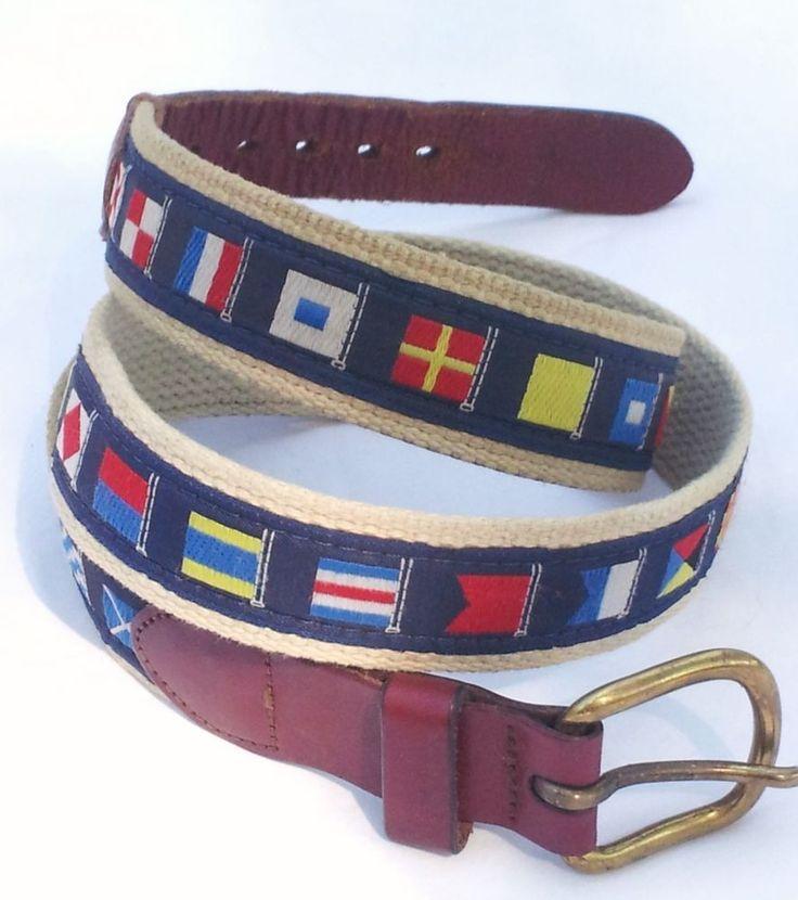 Men S Nautical Signal Flag Ribbon Canvas Amp Leather Belt W