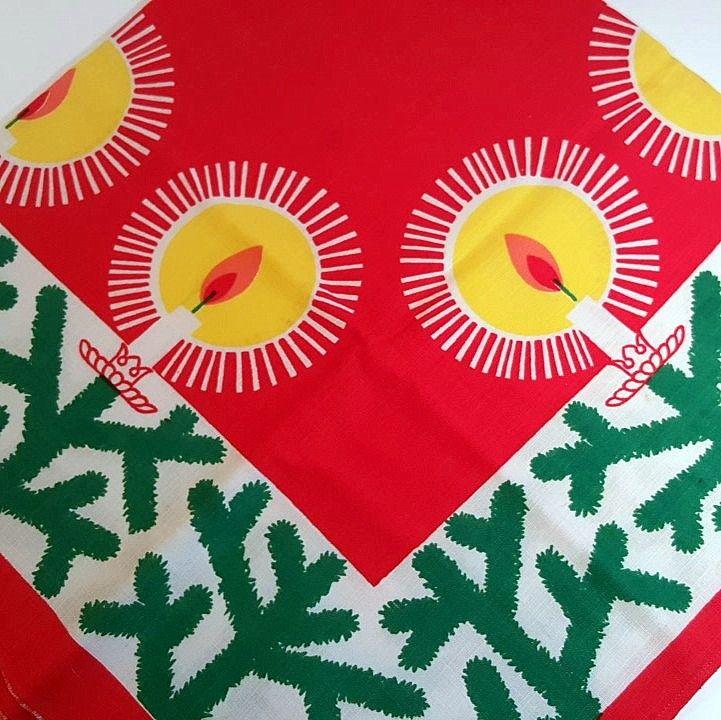 Retro Christmas textile. #trendyenser #retro #swedishdesign #norahjohansson #juleljys #christmastablecloth #retrochristmas #retrotextile #jul #tekstiltryk #retrotekstil #juledug. From www.TRENDYenser.com. SOLGT/SOLD.