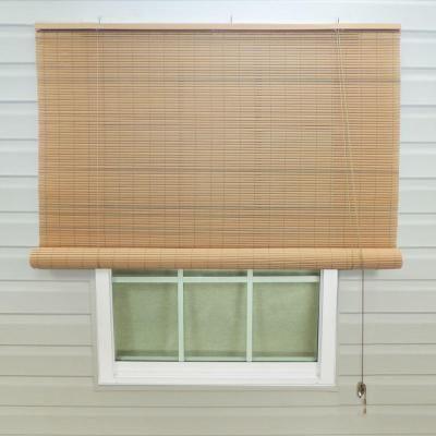 Tan Woodgrain Interior Exterior Roll Up Patio Sun Shade