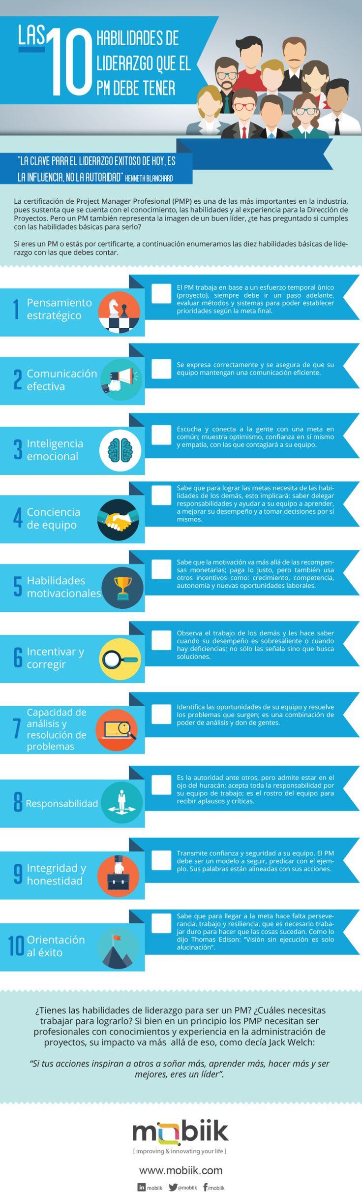 10 habilidades de liderazgo que un Project Manager debe tener #infografia #leadership                                                                                                                                                      Más