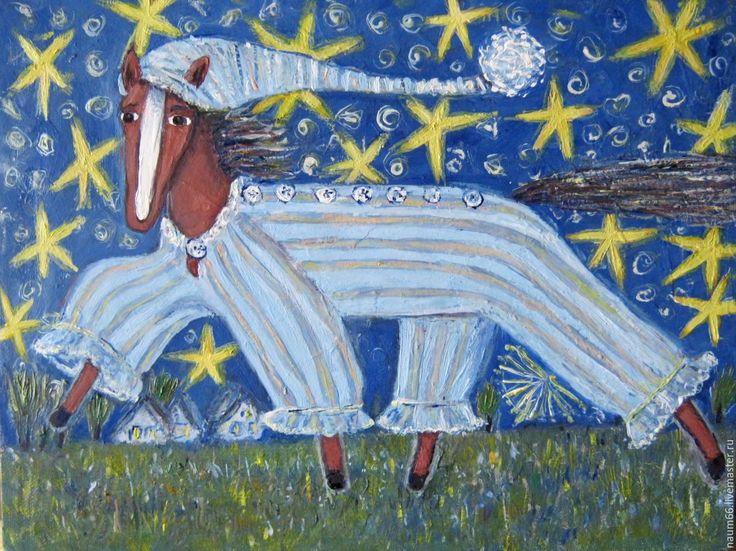 Купить Новая пижама. Картина маслом - голубой, картина в подарок, картина, картина для интерьера