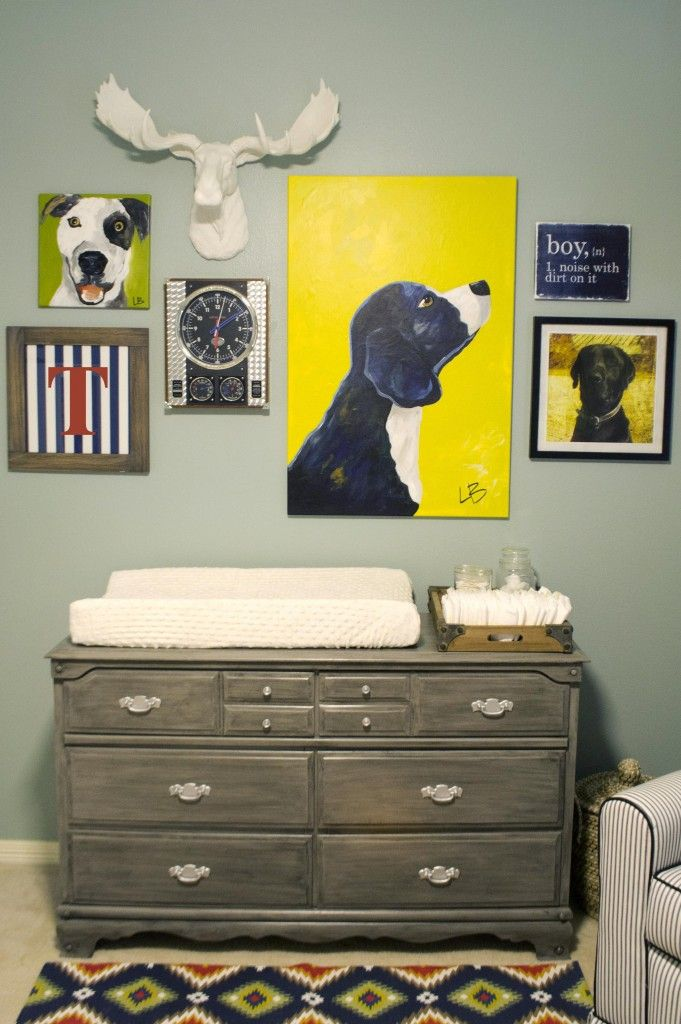love the idea of a collage of funky things for the wall in a nursery, especially for a boy