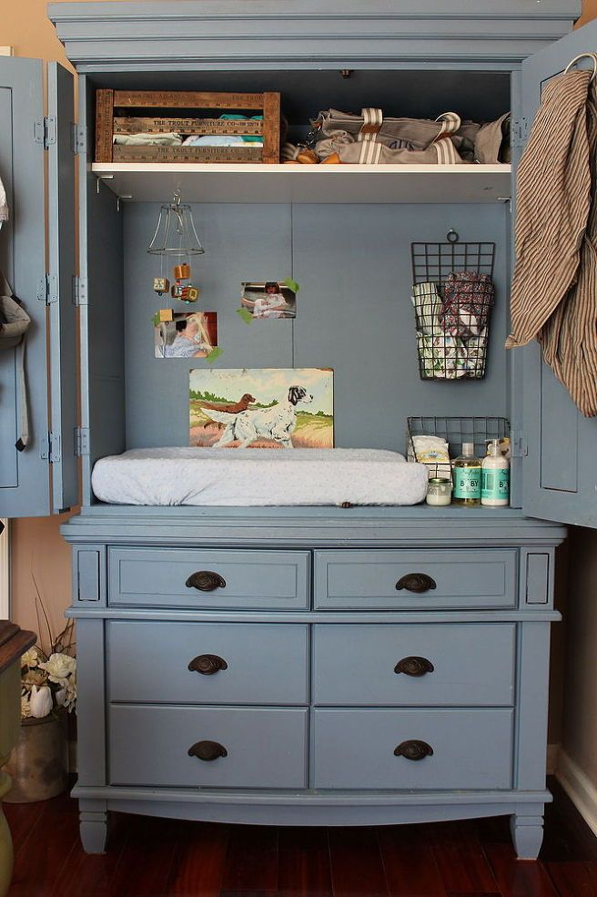 Entertainment Armoire Changing Table. If I can find an old hutch like this I most definitely will be using this idea <3 I love the color for our vintage/adventure theme