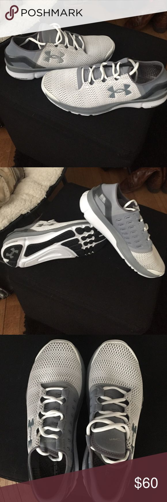 BRAND NEW under armour tennis shoes! White/gray women's running shoe. Very comfy, just never wore because they're a little snug! Under Armour Shoes Sneakers