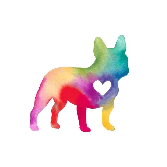 Cute watercolor bulldog silhouette with heart. French Bulldog Love by Anne Was Here