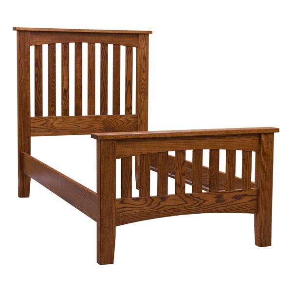 This Twin Arch Amish Mission Bed is built in the Heartland of America by Amish craftsman and remains true to the Arts & Crafts style and tradition. It is made inspired by the work of Frank Lloyd Wright and the Arts & Crafts Movement. Furthermore, it is constructed from hand selected Red Oak and finish in a Warm Mission Cherry Finish (shown).   It's construction and structural integrity is something to admire. In addition, the bed rails are a full 1-inch thick and 6 inches wide and attach…
