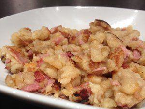 Farz buen salés (Pâte à crêpes épaisse cuite façon oeufs brouillés) pour un dîner facile et rapide!