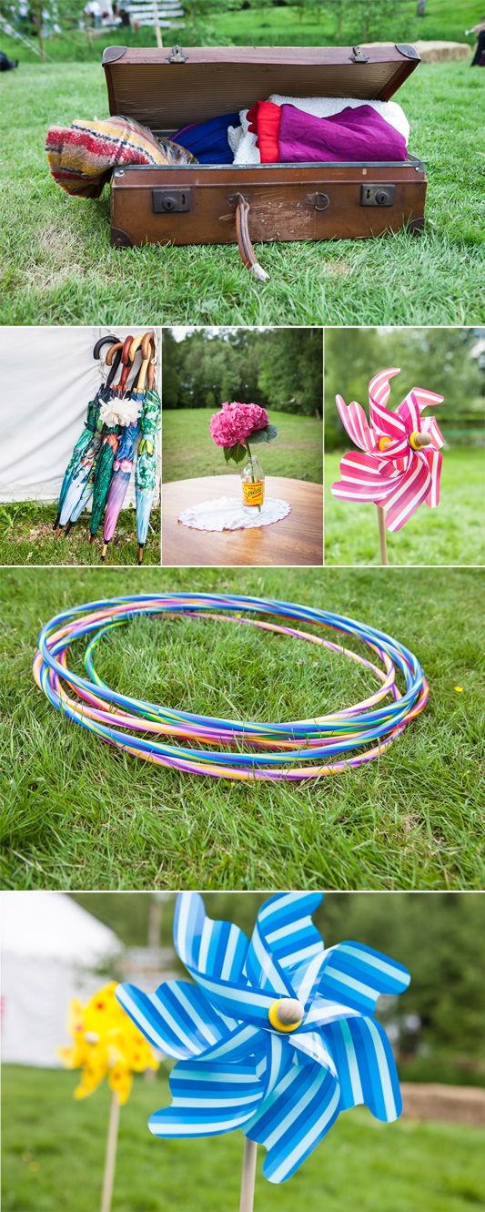 Provide colourful props and games to entertain your wedding guests at a festival style celebration