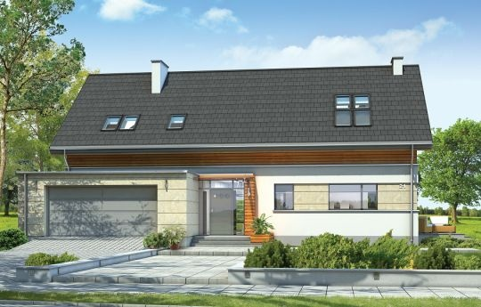Projekt Gala to wygodny, nowoczesny dom jednorodzinny dla czterech-sześciu osób. Bryłę budynku zaprojektowano jako parterową z poddaszem użytkowym, o kształcie prostokąta przekrytego dwuspadowym dachem, z dodanymi parterowymi dobudówkami garażu, wejścia, czy podcienia przy tarasie ogrodowym. Projekt domu Gala łączy w sobie tradycyjną formę z awangardowymi, nowoczesnymi rozwiązaniami zastosowanych materiałów, płaskich dachów, czy dużych przeszkleń otwierających wnętrze na ogród.