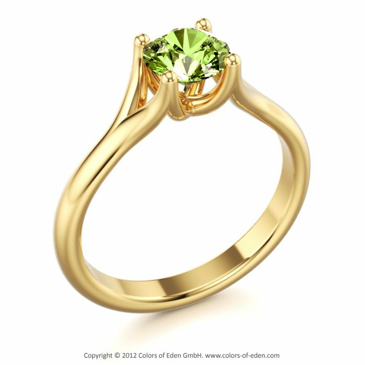 Solitaire Ring with Peridot in 14k Yellow Gold #peridot #engagement #ring