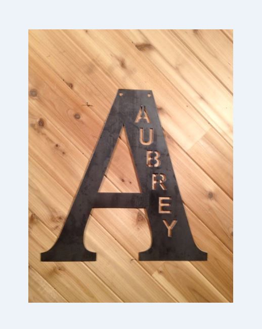 18 Raw Metal Custom Letter or & with cut out name by PrecisionCut