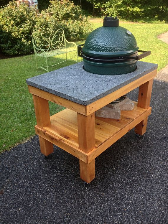 Big Green Egg Table Plans | Large Big Green Egg Cedar Table with Polished by cre8iveconcrete