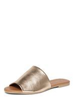 Womens Gold 'Florida' Leather Mules- Gold