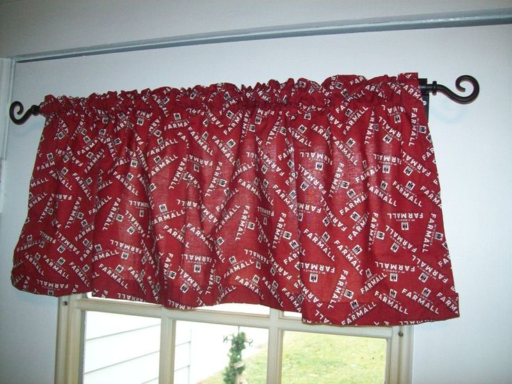 Farmall ih red logo window valance curtain for the home for International harvester decor