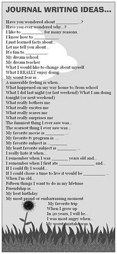 Character development practice: fill these out from your character's perspective.