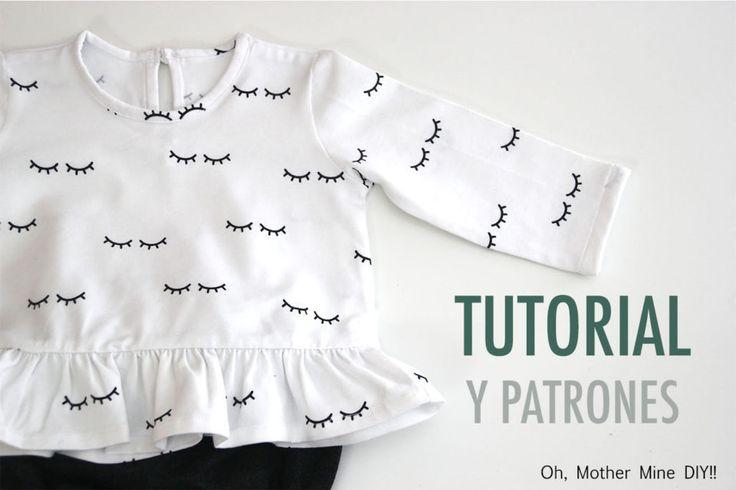 DIY Cómo hacer camiseta con volante para bebés (patrones gratis) | | Oh, Mother Mine DIY!!