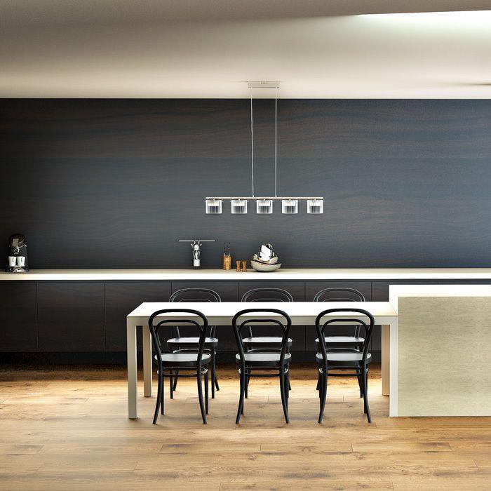 ESTRA V | rendl light studio | LED-pendel med 5 dekorativa reflektorer i aluminium, omslutna av genomskinliga glasskärmar. #belysning #lampor #pendel #ljuskrona