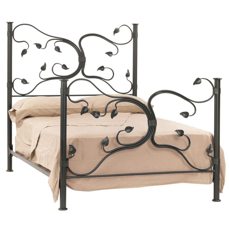 the eden isle bed is a solid wrought iron bed with natural vines and leaf accents that make up the headboard u0026 foot board