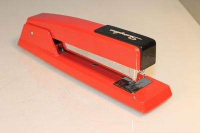 Vintage Mid Century Modern Red Swingline Stapler Desk Top