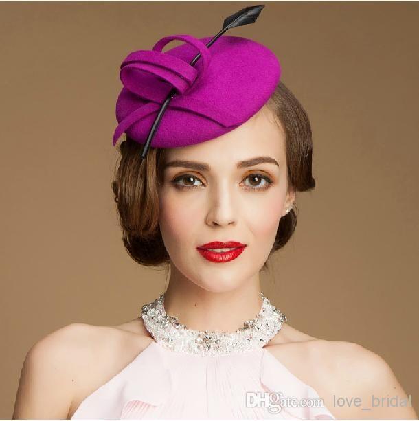 Purple Pillbox Fascinator Hats Wool Cocktail Hats Fascinators Wedding Guest Hat Formal Evening Headwear Felt Hat Feather Woman Berets Hats