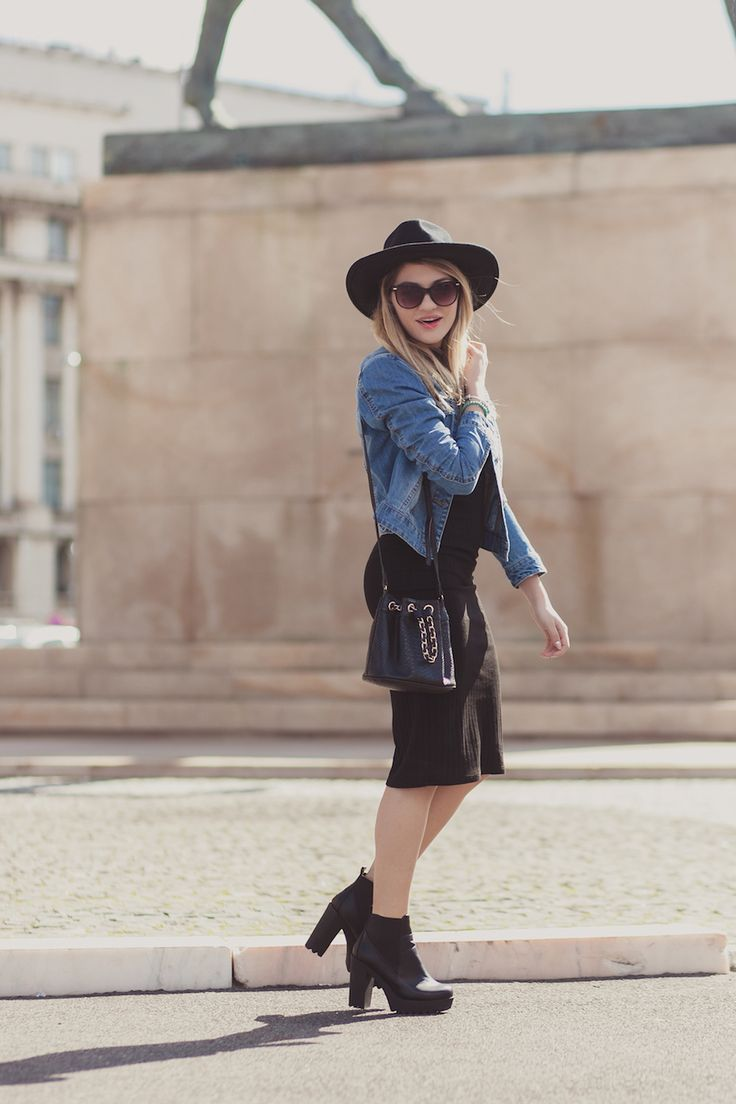 Denim jacket and black dress on http://lauramusuroaea.com/say-hello-to-spring/