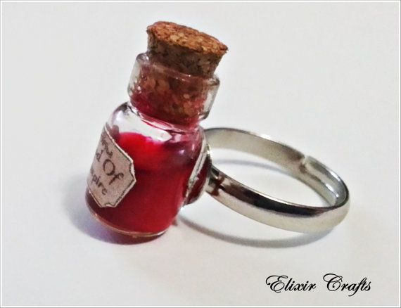 Miniature Bottle Ring Vampire Blood by ElixirCrafts on Etsy