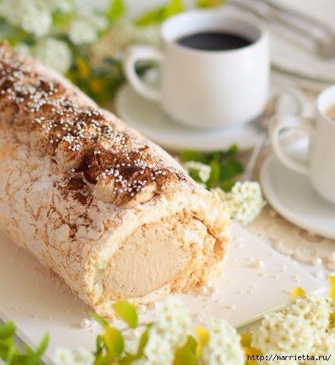 Бисквитный рулет с кофейным кремом