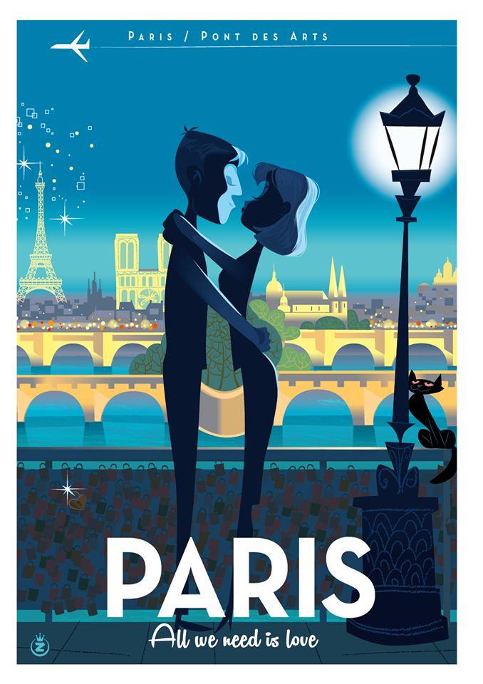 """Illustration dans la même palette de couleur et sous forme de dessins / Titre """"Paris"""" en évidence avec du Bold et une police différente"""