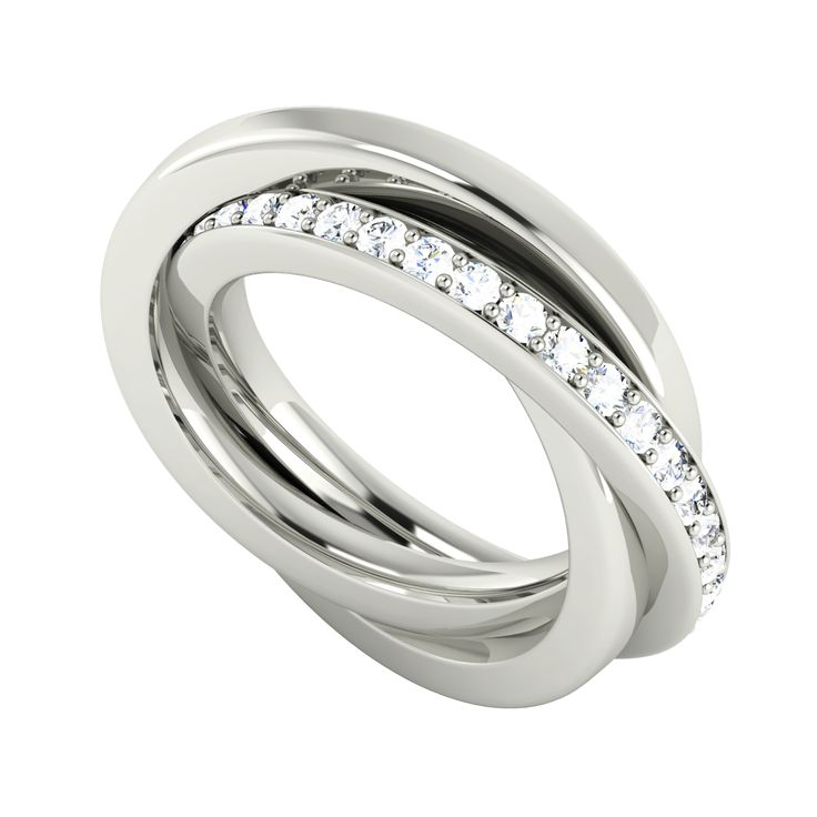Stunning Diamond Russian Wedding Ring In 9ct White Gold From StyleRocks
