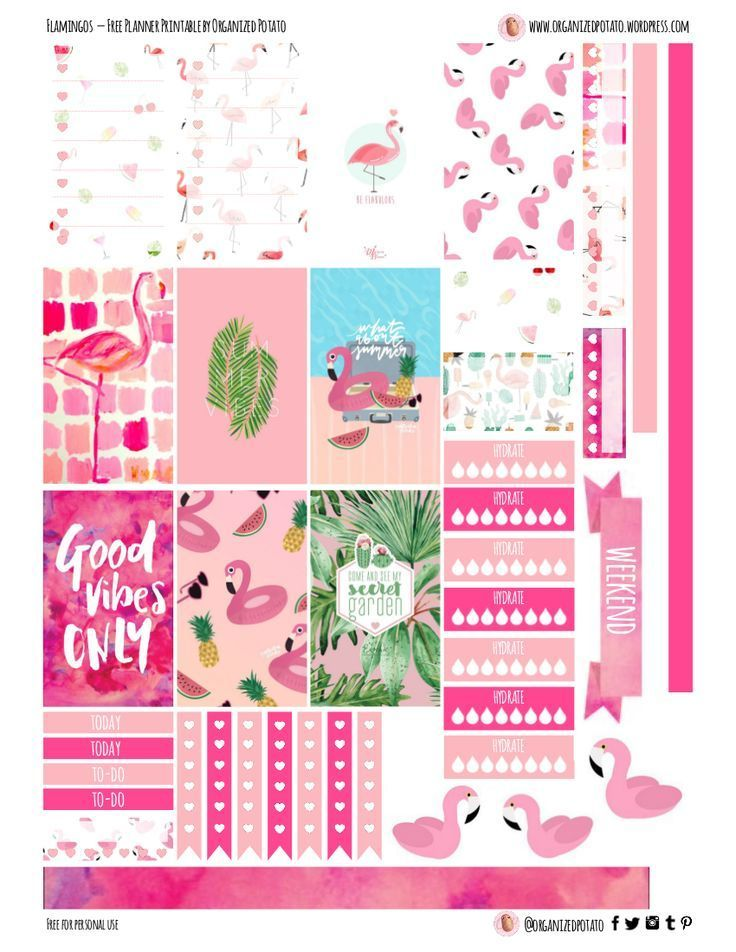 Free planner printable flamingos
