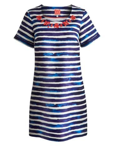 Joules Womens Striped Tunic, Indigo Stripe.                     With watercolour stripes and hand-placed beads to the neckline, this new tunic ticks all the boxes. Coupled with sandals, it's an outfit all in itself. Crafted from lightweight linen for the ultimate in warm weather style.