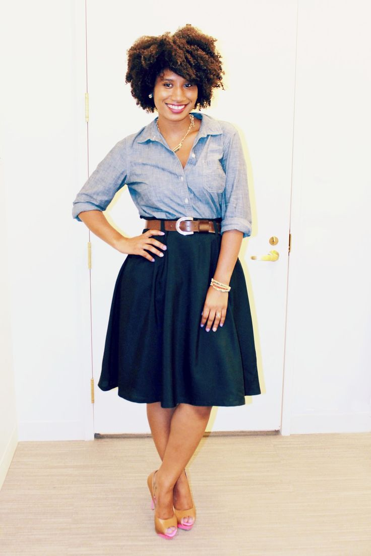 Old Navy Chambray Shirt with a full skirt.  Perfect teaching/ interning/ shadowing clothes! Minus the heels, of course, cause that would just be crazy! Lol