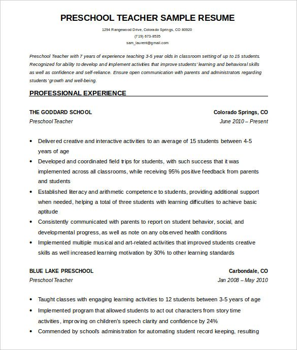 Free Sample Resume Templates Examples: PreSchool Teacher Resume Template Free Word Download , How