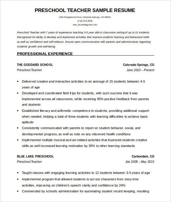 resume templates for preschool teachers
