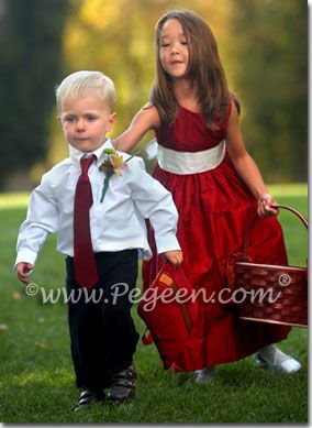 Red flower girl dresses | Pegeen ~ Located 1 mile from Disney World, Selling online and shipping worldwide. Call us for design help! 407-928-2377