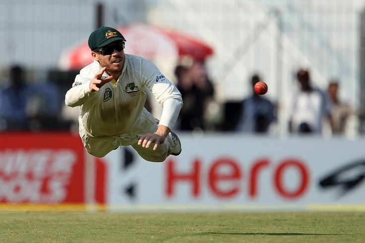 David Warner makes a spectacular leaping save