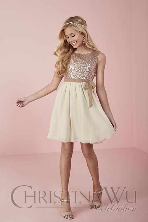 All-over sequin bodice with a tank-style neckline, long chiffon sash, and short chiffon skirt. Style #: 32705