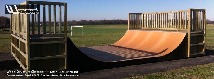 Rampe Skate H120L488   Rampe de Skateboard installée àVilleneuve-la-Dondagre( 89 - Yonne - Bourgogne-Franche-Comté) près de Sens.  Hauteur des Courbes : 1.20 ml | Dimensions de la rampe : 10.00 x 4,88 ml  Ossature en Sapin du Nord traitée autoclave | Surface de Roulement : Skatelite Pro