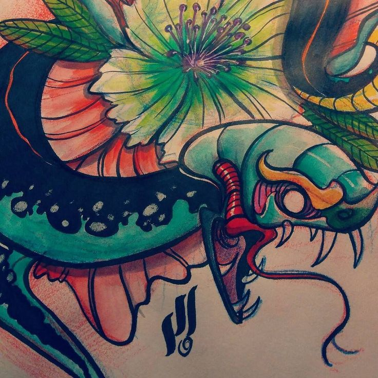 Threw some colors to it #neotrad #neotraditional #tattooflash #snake #sketch #art #instagood #mrturn