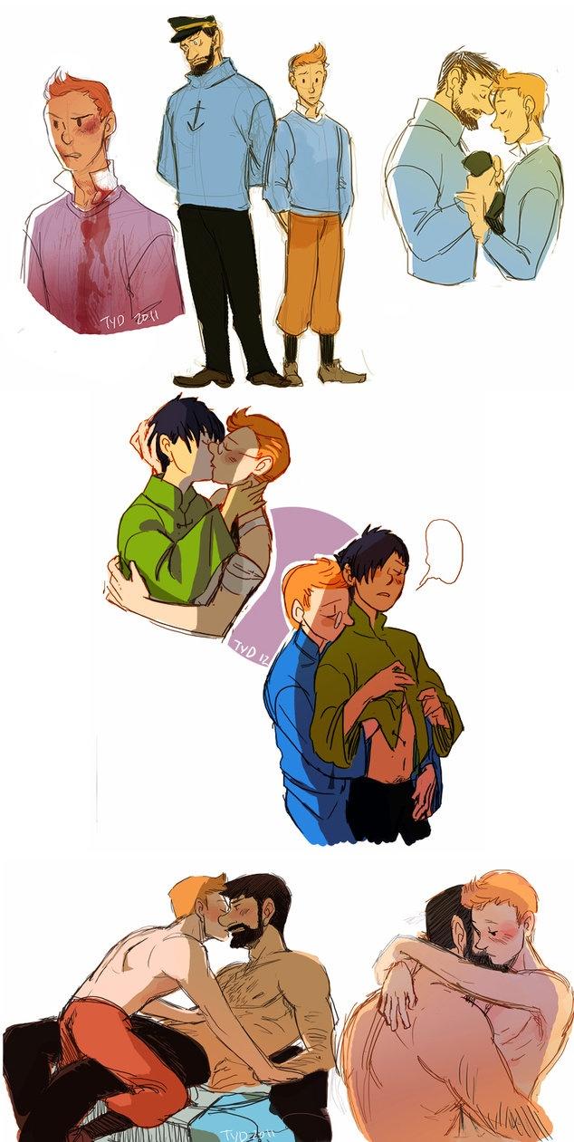 Tintin - Tintin x Chang & Tintin x Captain Haddock by ~theyoungdoyler on deviantART