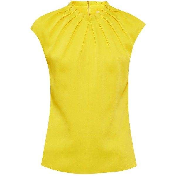 Ted Baker Reela High Fold Neck Top ($130) ❤ liked on Polyvore featuring tops, folding shirts, ted baker shirts, shirt top, ted baker tops and yellow top