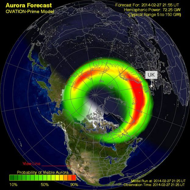 NOAA map of the Aurora predictions of 27 February