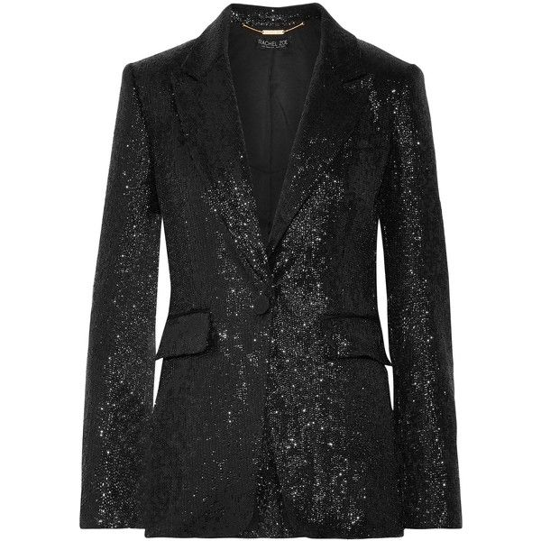 Rachel Zoe Rixey sequined tulle blazer (7,925 MXN) ❤ liked on Polyvore featuring outerwear, jackets, blazers, black, shoulder pad blazer, shoulder pad jacket, sequin blazer, rachel zoe blazer and tulle jacket