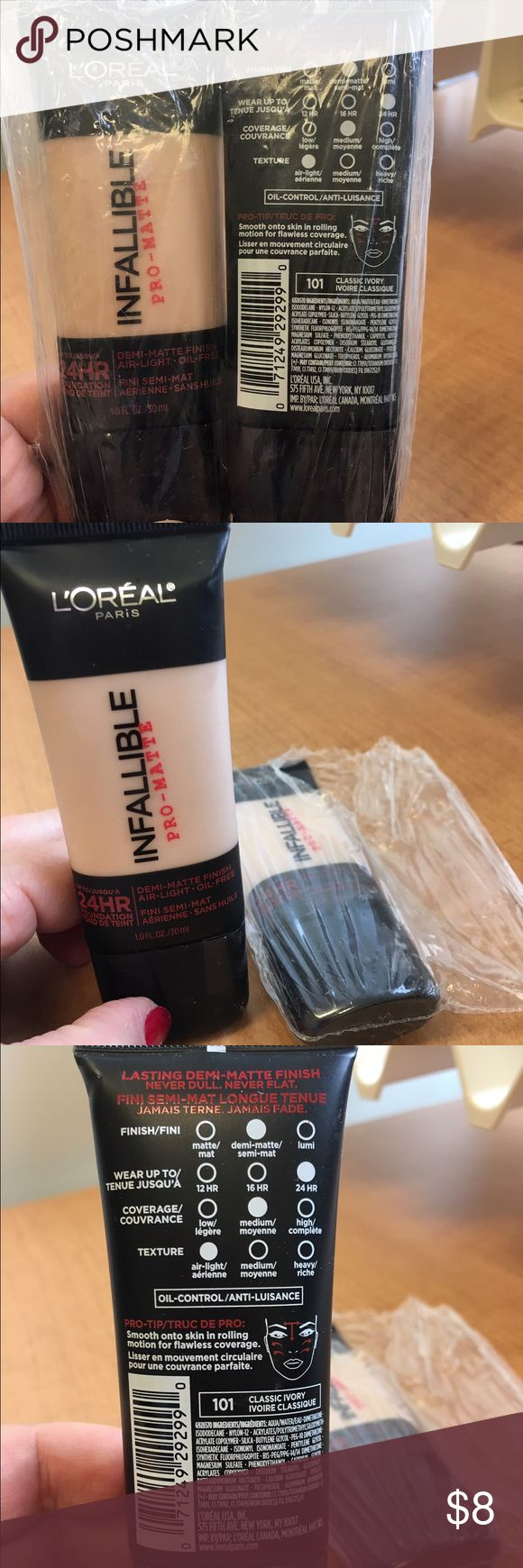 L'Oréal infallible pro-mate in classic ivory 101 2 L'Oréal infallible pro-mate air-light, oil free in classic ivory 101. I opened one to try it but it's too light for my skin. Still in original package. L'Oreal Makeup Foundation