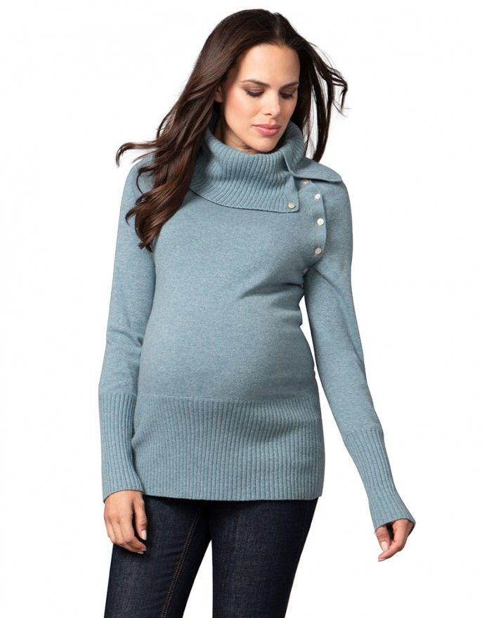 d88ca352735f Sea Mist Roll Neck Cashmere Blend Maternity Jumper | woman's fashion ...