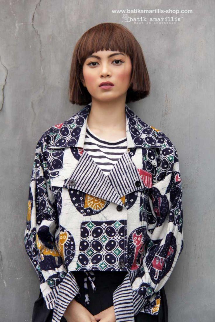 Batik Amarillis's Traveller Jacket 2 in adorable batik pekalongan Cat series
