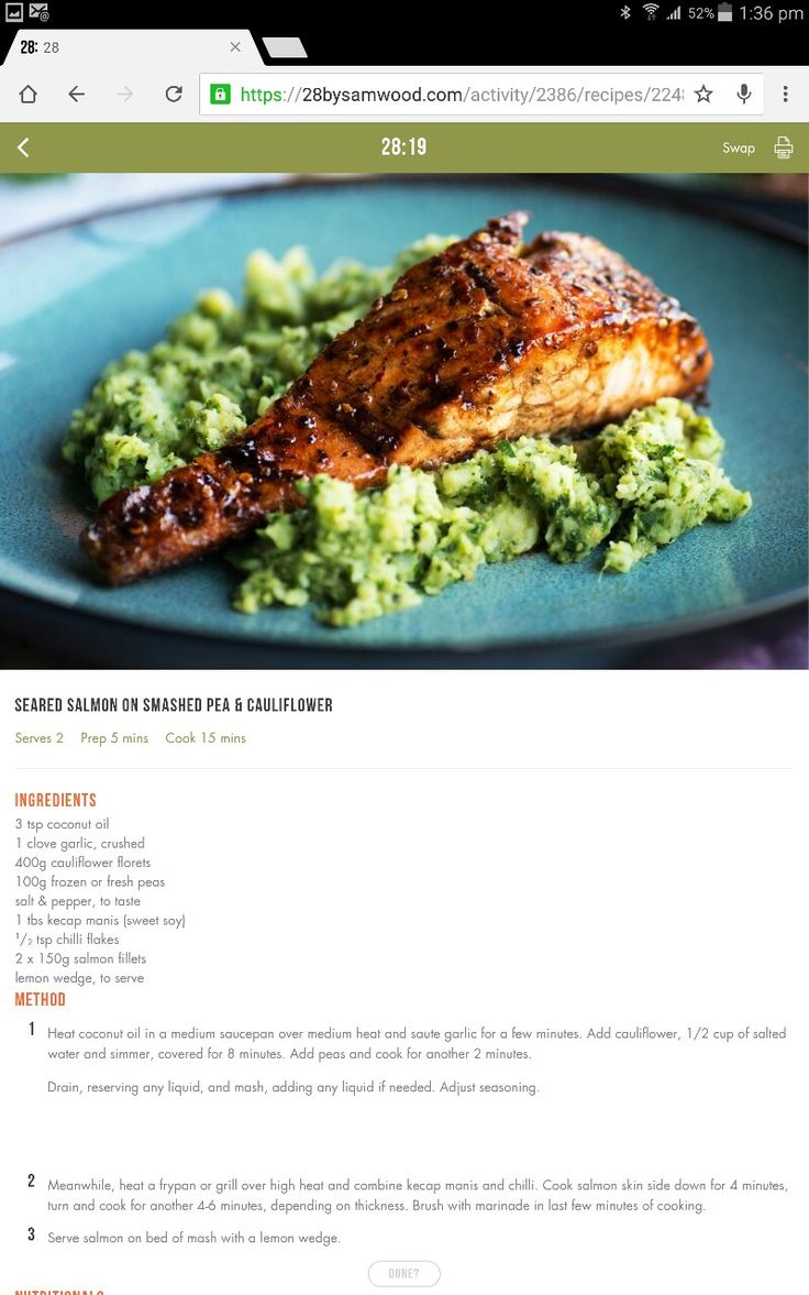 Salmon and cauliflower mash